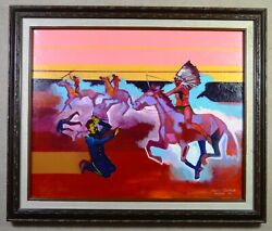 Native American Indian Brent Learned Original Painting To See Death, Framed