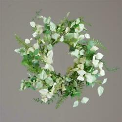 New Cottage Chic Farmhouse Green Mint Herb Fern Candle Ring Wreath 6