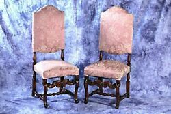 Pair 2 Baroque Style Carved Side Chairs Armchairs Sofa Dining Antique Vintage