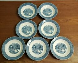 Lot Of 7 Vintage Currier And Ives Early Winter Collectible Bowls By Royal