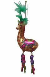 Circus Giraffe In Feather Hat Christmas Holiday Ornament Glass
