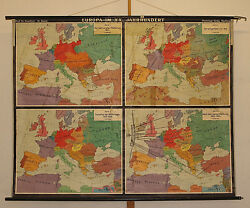 Wall Map History Europe 80 11/16x64 5/8in 1957 Vintage Maps Patina