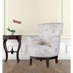 Swivel Accent Chair With Calligraphy Pattern N/a
