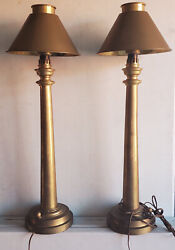 Vintage 1983 Heavy Brass Chapman Lamps With Brass Shades Big 31.5 Tall Rare