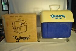 Covey Swinger 12 Pack Picnic Cooler Olympia Beer Blue White Vintage Plastic Box