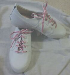 $54.99 KEDS CHAMPION LEATHER GIRLS 4 SNEAKERS LACE UP TENNIS SHOES EXTRA LACES $24.99