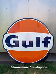 Vintage 1960andrsquos Gulf Service Station 6 Ft. Porcelain Sign - Gas And Oil