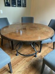 56 Round Copper Kitchen Or Dining Table With Rivets And Gold Accents