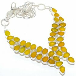 Yellow Sapphire Gemstone Handmade 925 Sterling Silver Jewelry Necklace Q825