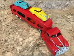 Marx Pressed Steel Motor Transit 22 Auto Transport Truck 2 Ramps And Four 6 Cars