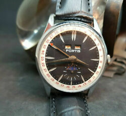 Rare Vintage Fortis Triple Date Calendar Moon Dial Manual Wind Manand039s Watch