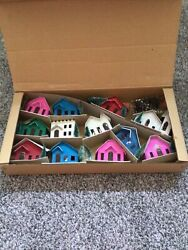 Vintage Sears Lot Christmas Cardboard Village Houses And Trees Japan With Box