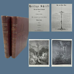 Ca. 1880s Folio Two Volume Luther German Family Bible With 230 Dore Engravings