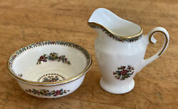 Coalport Bone China Made In England Ming Rose Miniature Water Pitcher And Bowl