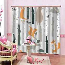 Animals Go To Market In The Forest Printing 3d Blockout Curtains Fabric Window