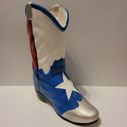 Porcelain Cowboy Boot Vase, Texas Flag, Hand Painted 12 Tall Mint Condition