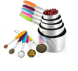Measuring Spoon Cups Set, Silver, Stainless Steel , Set Of 9 Pcs, Multicolour