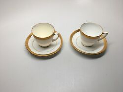 Rare Vtg Pair Minton England Gold Encrusted Demitasse Cups And Saucers H1886-mint