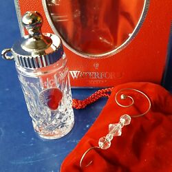 2004 Waterford Crystal Baby's 1st Christmas Bottle Ornament W/ Box, Pouch And Hook