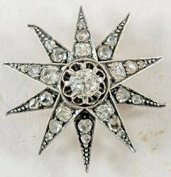 Antique Starburst Pendant 14k Gold W Silver Top Old Mine Cut And Rose Cut Diamond