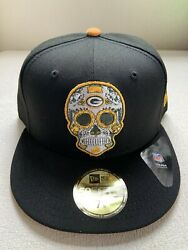 Green Bay Packers New Era 59fifty 5950 Sugar Skull Day Of The Dead Hat 7 3/8 New