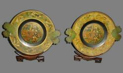 Amazing Antique Hand Painted Gold Lacquer Pair Of Meiji Japanese Plates And Stands