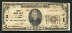 1929 20 The First National Bank Of Dixonca National Currency Ch. 10120 Rare