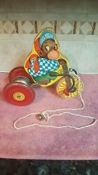 Antique J. Fred Muggs Wooden Pull Toy Metal Wheels And Bell The N.n. Hill Brass Co
