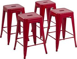 Bar Stools Set Of 4 Metal 24 Inch Backless Stackable Scratch Resistant Red