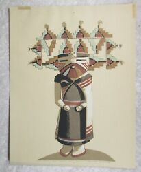 Louie Ewing Serigraph Hopi Indian Butterfly Kachina Signed 9.5 X 12in Print Nm