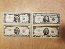 1953 Two Dollar Note Red Seal 2 Bill 1957 One Dollar Note Blue Seal 1 Bill X4