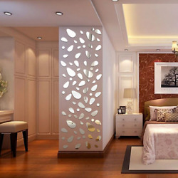 3D Mirror Removable Wall Stickers Flower Art Mural Decals Living Room Home Decor
