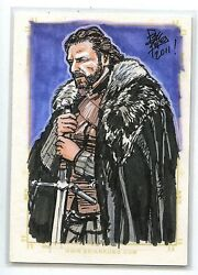 2011 Got 1st Season Game Of Thrones Full Color Ned Stark Hand Paint Art 1/1