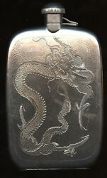 Antique Circa 1890s Sterling Silver Chinese Nanking Handmade 176g Dragon Flask