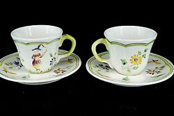 2 Hand Painted Faience Cups Saucers Lc Longchamp Moustiers France Old Mark