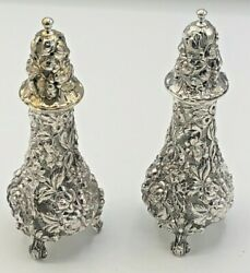 Stieff Rose By Stieff Sterling Silver Pair Of Salt And Pepper Shakers 12a