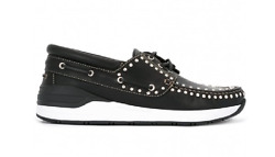 Givenchy Menand039s Black Silver White Leather Studded Slip On Shoes N3825 Sz 42 Eur