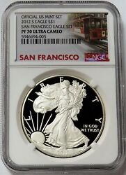 2012 S San Francisco American Silver Eagle Proof 1 Ngc Pf 70 Uc Trolley Label