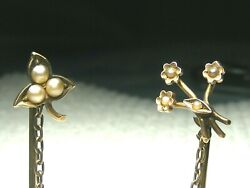Vtg. 10k Gold Double Pearl Stick Hat Pins