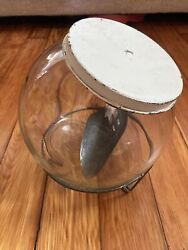Globe Glass Counter Ball Jar Container Ribbed Striped Sugar/cookie/candy Lid