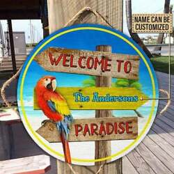 Personalized Beach Welcome To Paradise Wood Circle Sign Paradise Sign $19.99