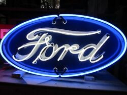 New Porcelain Double-sided Ford Oval Neon Sign 48w X 24h - Lifetime Warranty