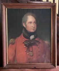 Antique Oil Portrait Decorated British Officer In Red Jacket Listed Artist