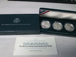 1994 Us Veterans 3 Coin Uncirculated Proof Silver Dollar Commemorative Set