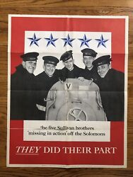 Original Vintage Poster Wwii Sullivan Brothers They Did Their Part World War 2