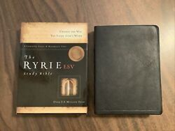 Esv Ryrie Study Bible - Black Calfskin Genuine Leather Oop