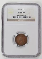 Small Cents Indian Head 1869 P Ngc Vf-35 Bn
