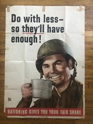 Original Poster Wwii Do Less With More Rationing Soldier World War 2 Pinup Us