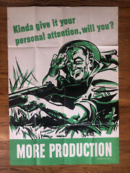 Original Poster Wwii Personal Attention More Production 1944 Soldier Us Army