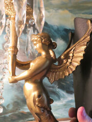 Pair Whimsical Lady Sconce 4lite Antique Deco Spelter Mermaid Crystal Brass Lamp
